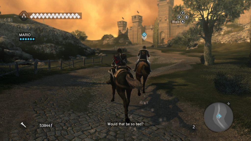 Ezio following his uncle Mario on horseback in Brotherhood