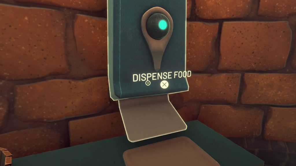 Close-up of falcon food dispenser, tool tip text displayed over the object.