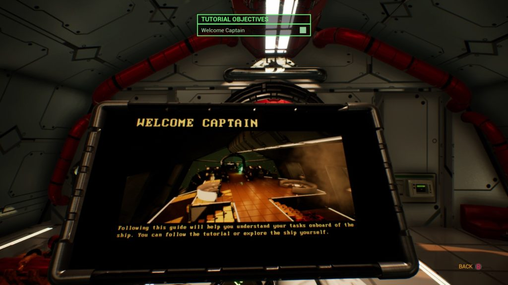 Ship captains PDA centered on screen, distorted text displayed at the bottom of the PDA.