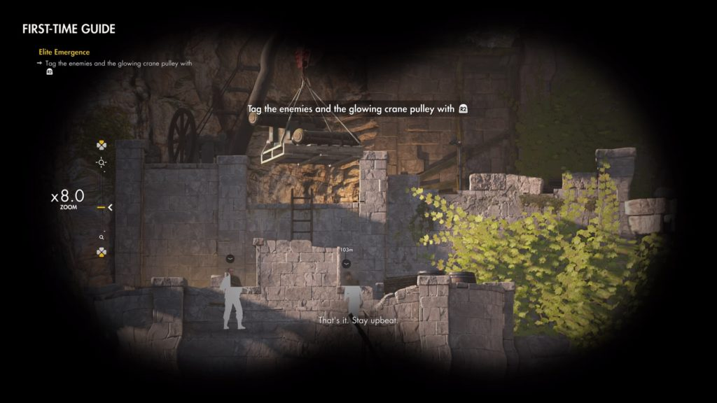 Player character looking through binoculars with two enemies tagged.