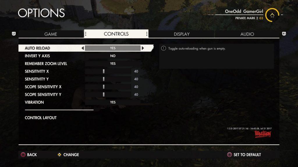 Controls options menu