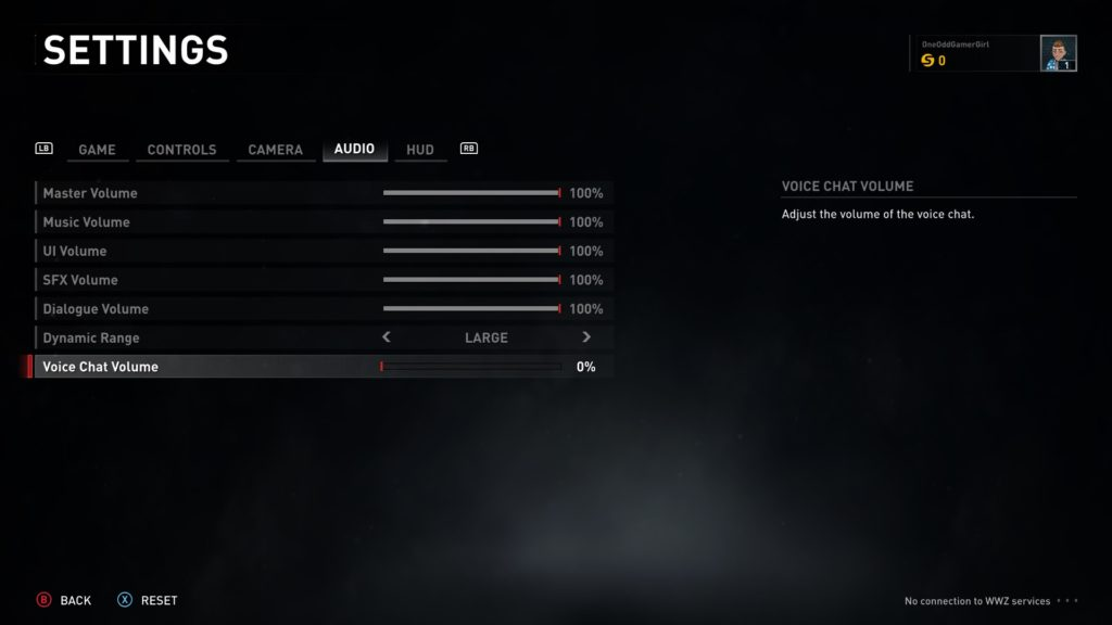Audio settings menu
