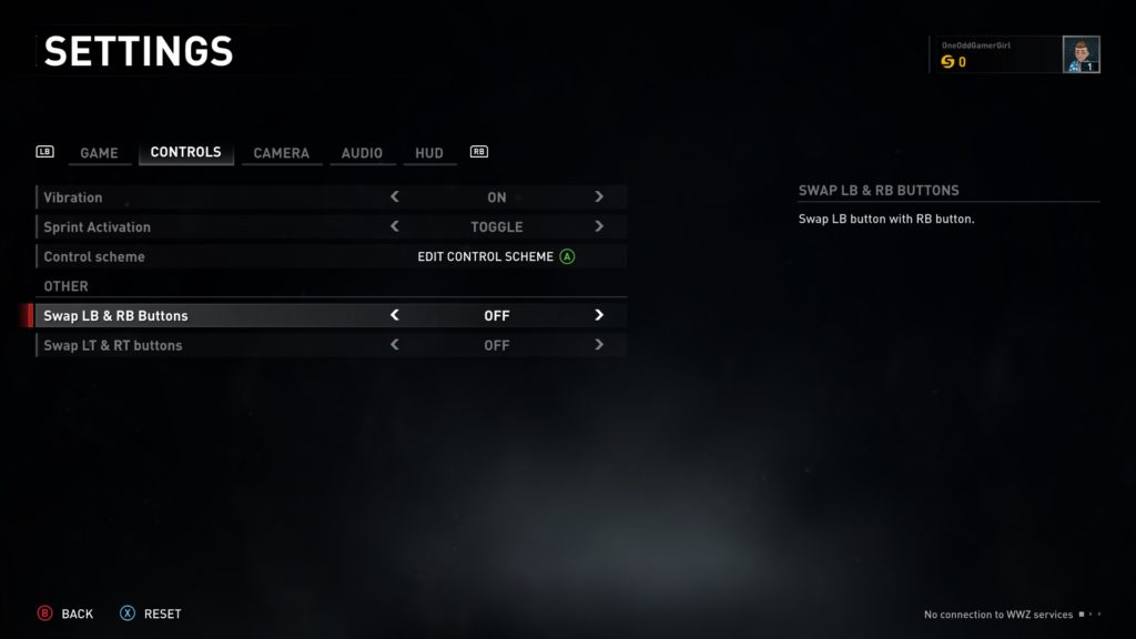 Control settings menu