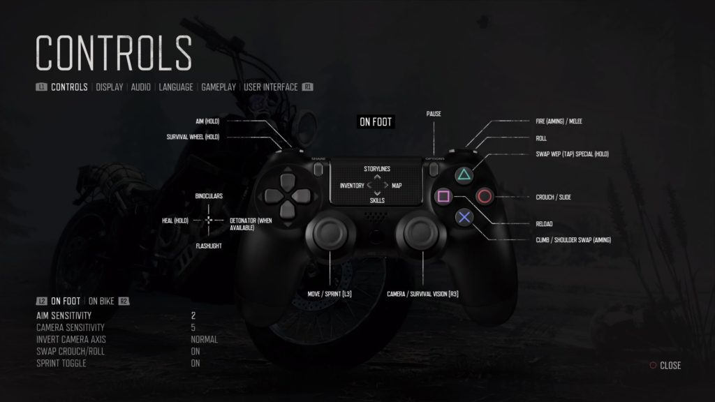 Control mapping menu