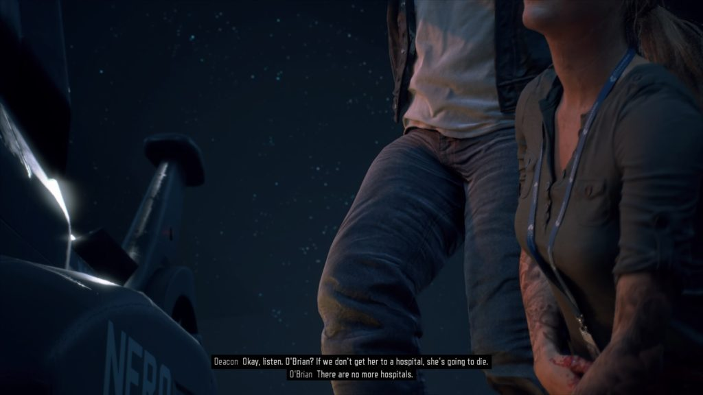 Still from a cutscene showing three peoples legs, image captured to illustrate subtitle speaker labels.