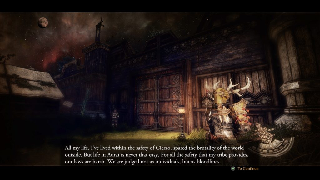 Loading screen showing a wooden door with large text shown at bottom of screen.