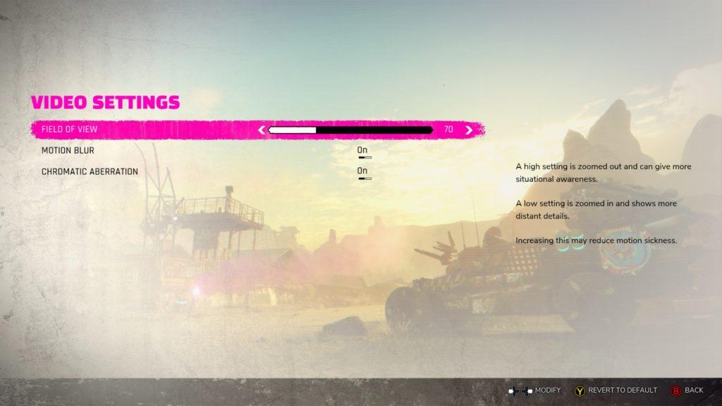 Video settings menu