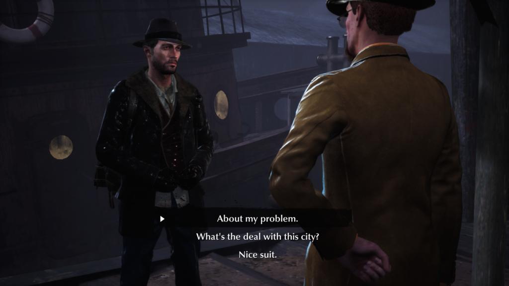 Dialogue choices screen