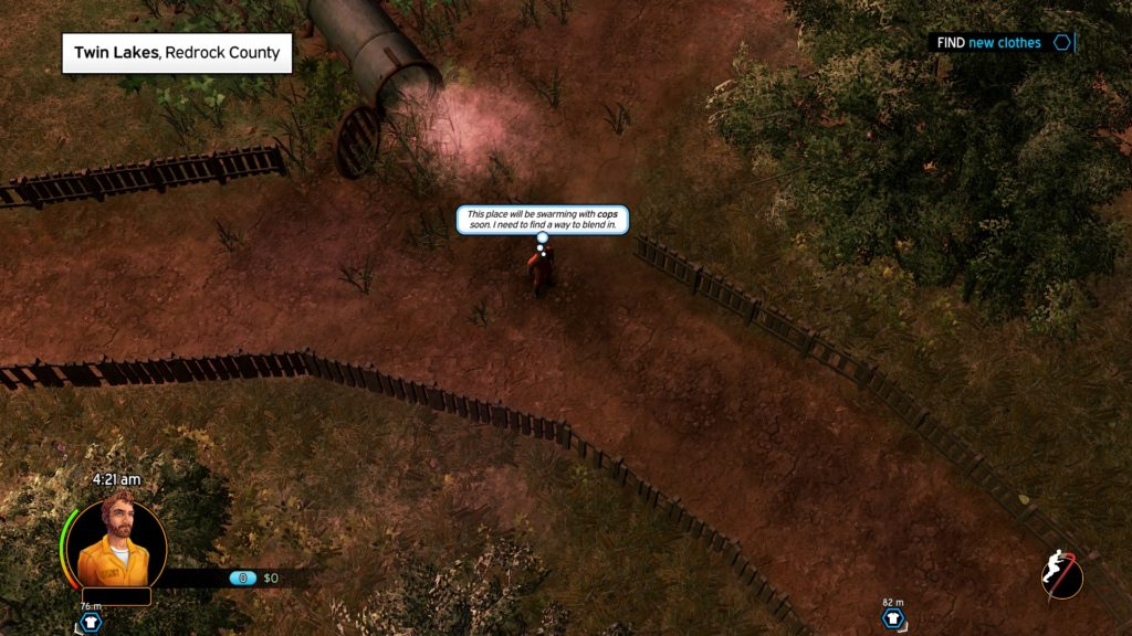 Top-down view of player character running down dirt road. Illegible text displayed on screen in a speech bubble.