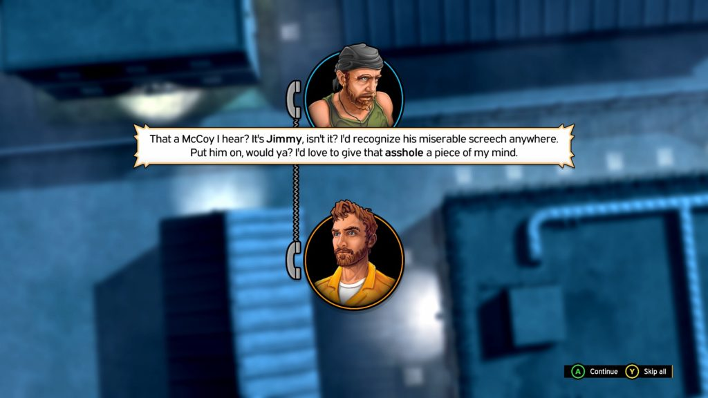 Two characters' avatars shown indicating a phone call between them.