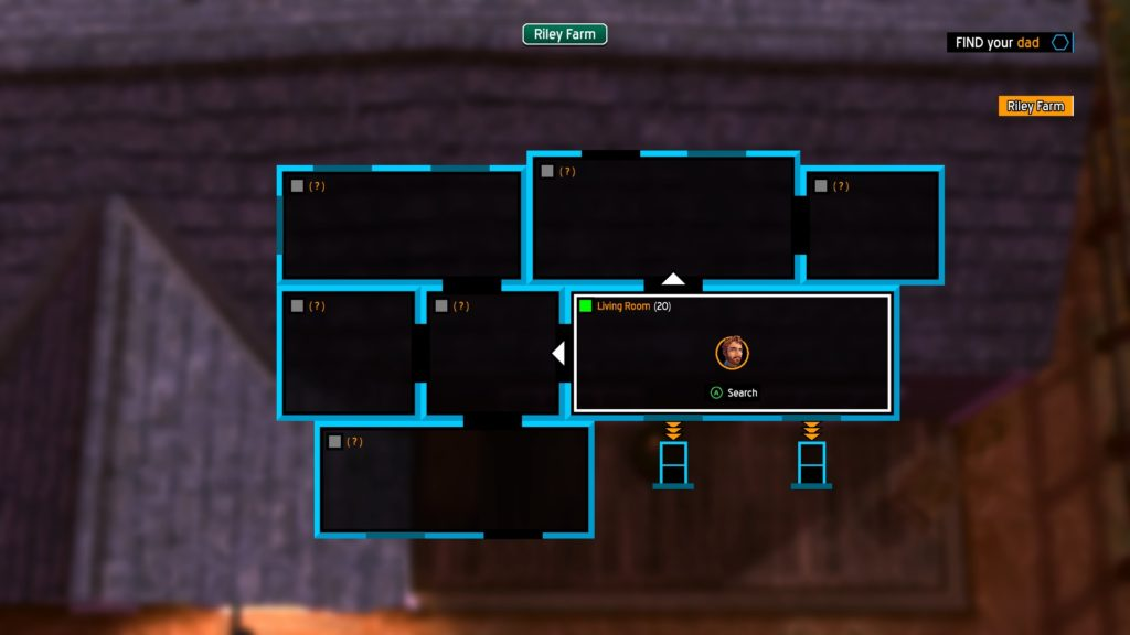 Blueprint view of a home the character has broken into.