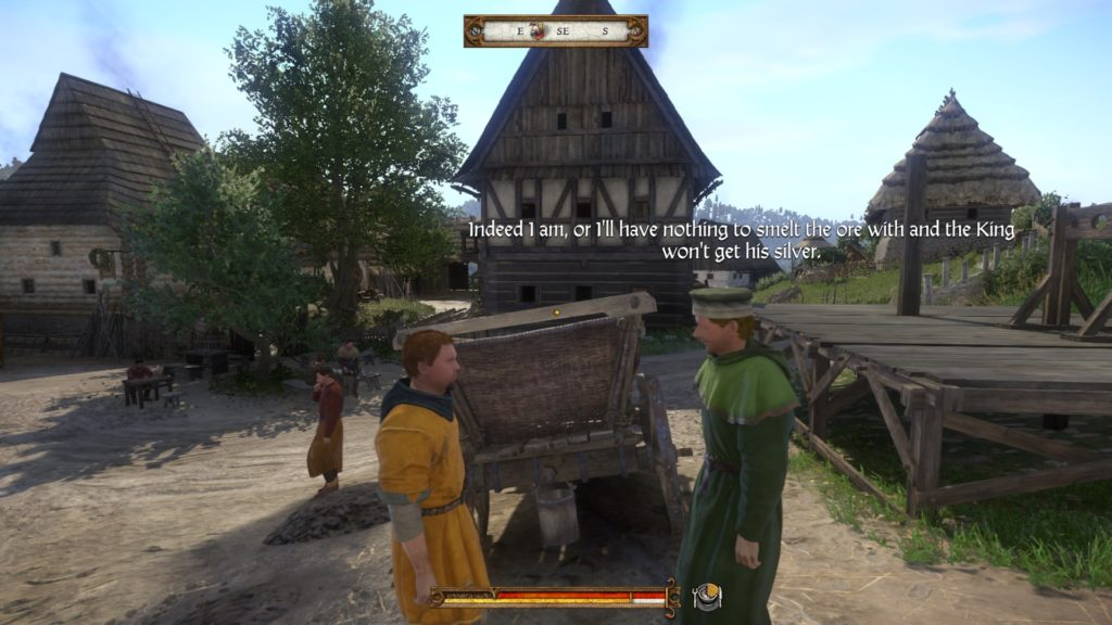 Two NPCs talking with larger subtitles floating above their heads.