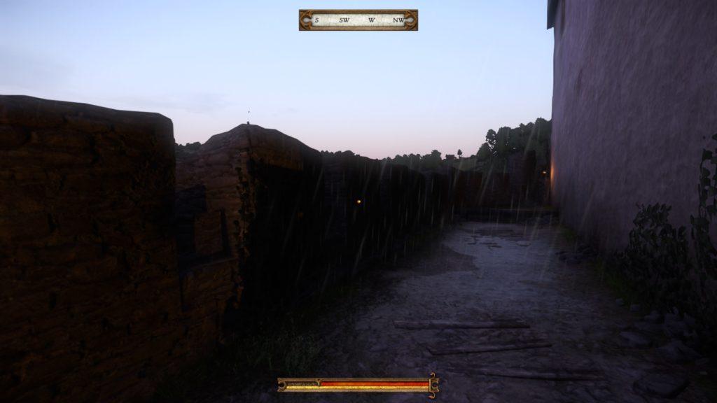An empty castle walkway at sunrise.