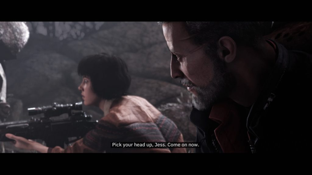 Cutscene with BJ and Jess, aiming a rifle. Subtitles displayed at bottom.