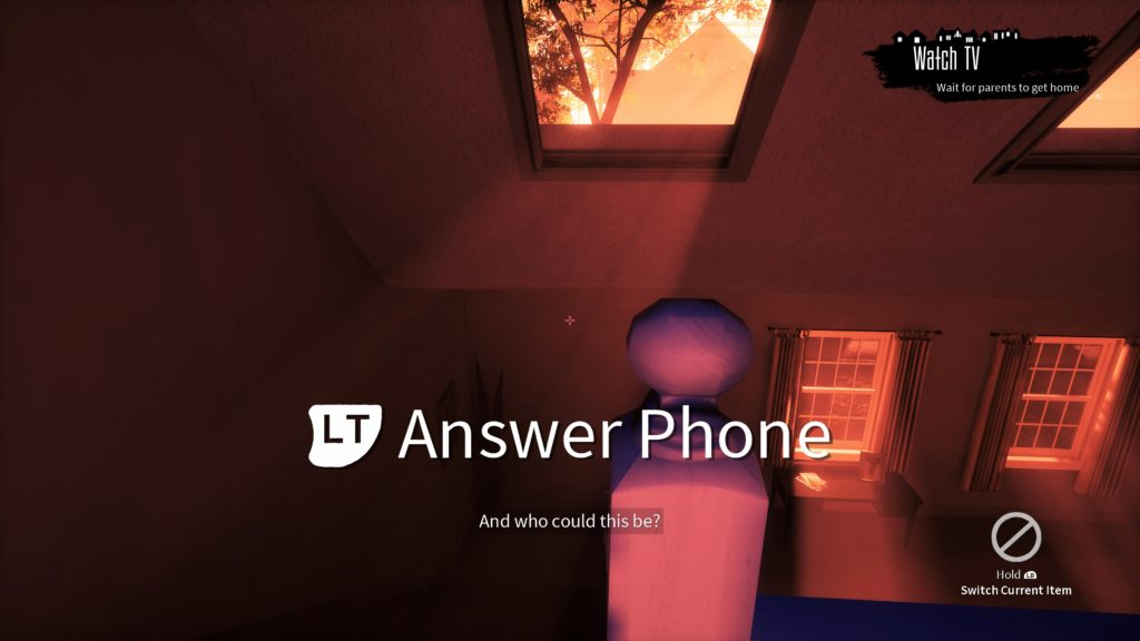 "First-person view with cue, ""LT Answer Phone"" in very large text."
