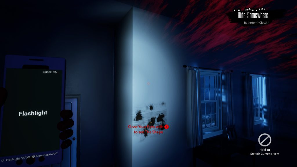 "Red streaks at top right , muddy hand prints on the wall, red text that reads ""Close your eyes with Y to see The Shape."""