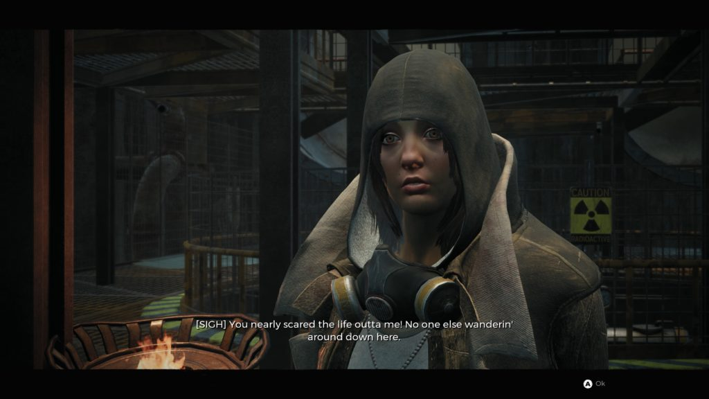 NPC dialogue scene showing the caption [SIGH] before the subtitle text.