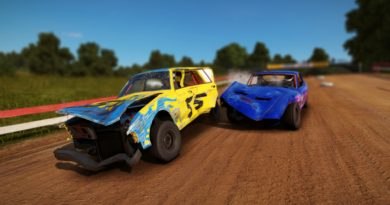 Blue car crashing into a yellow car on a dirt track.