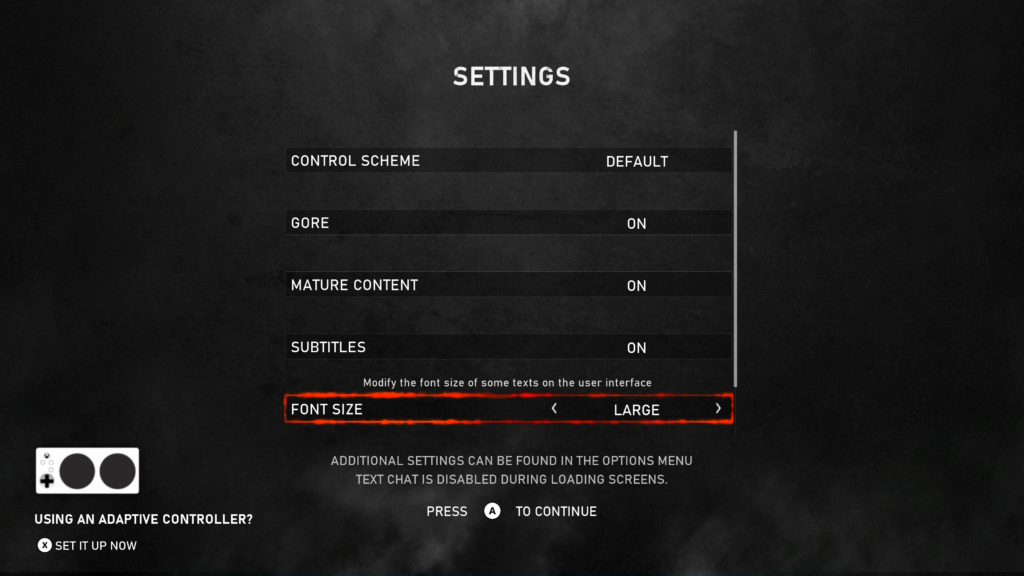 Game start settings menu