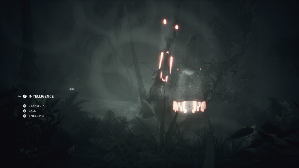 Sound visualization showing glowing eyes and teeth moving around the screen.