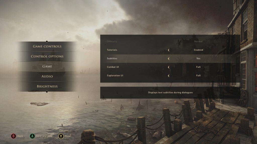 Game options menu