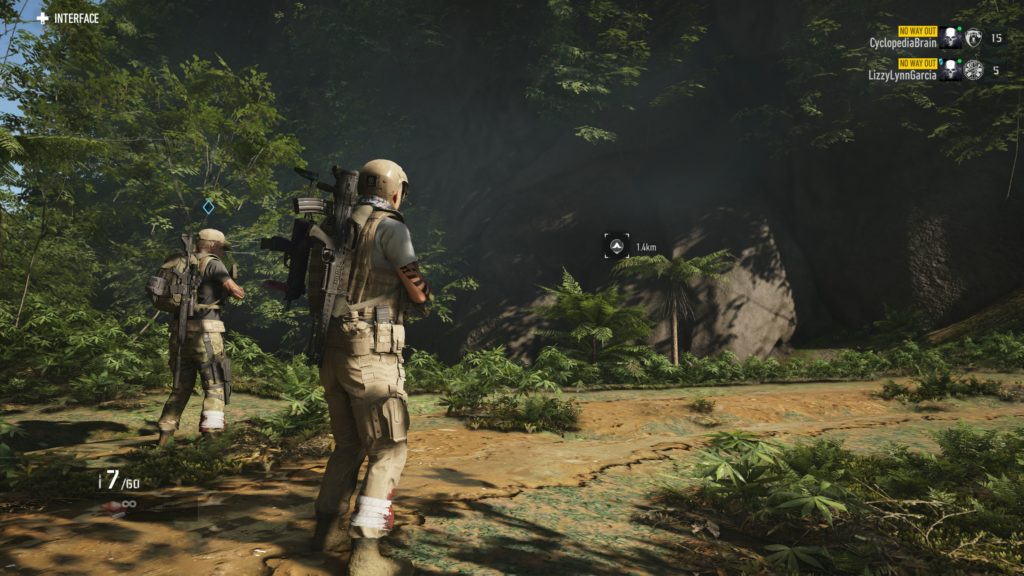In-game multiplayer scene in which two player characters are standing there as we wondered what sounds were happening all around us.