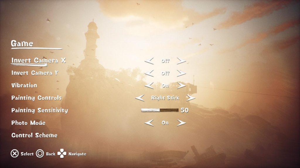Game options menu