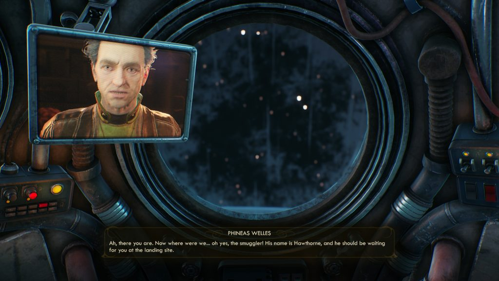 Cutscene illustrating even smaller subtitle text but with a background.