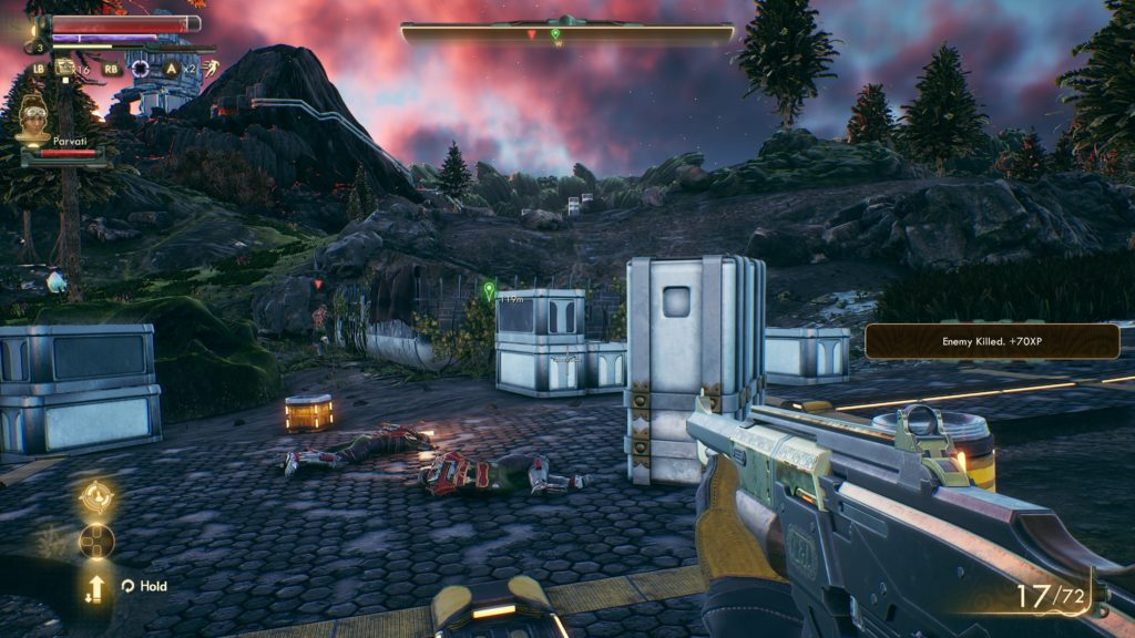 Illustrating enemy location, both in game and in the top compass bar.
